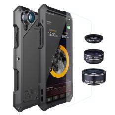 Tahan Air Tahan Guncangan Slim Casing Penutup Logam dengan 3 Lensa Kamera untuk iPhone X-Intl