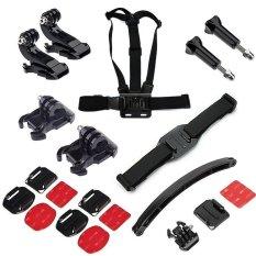 MENEMBAK Outdoor Biasa Sport Aksesori Bundle Kit dengan ChestStrap Mount dengan Helm Aksesori untuk Hero & SJ-CAM Yi Sport Kamera
