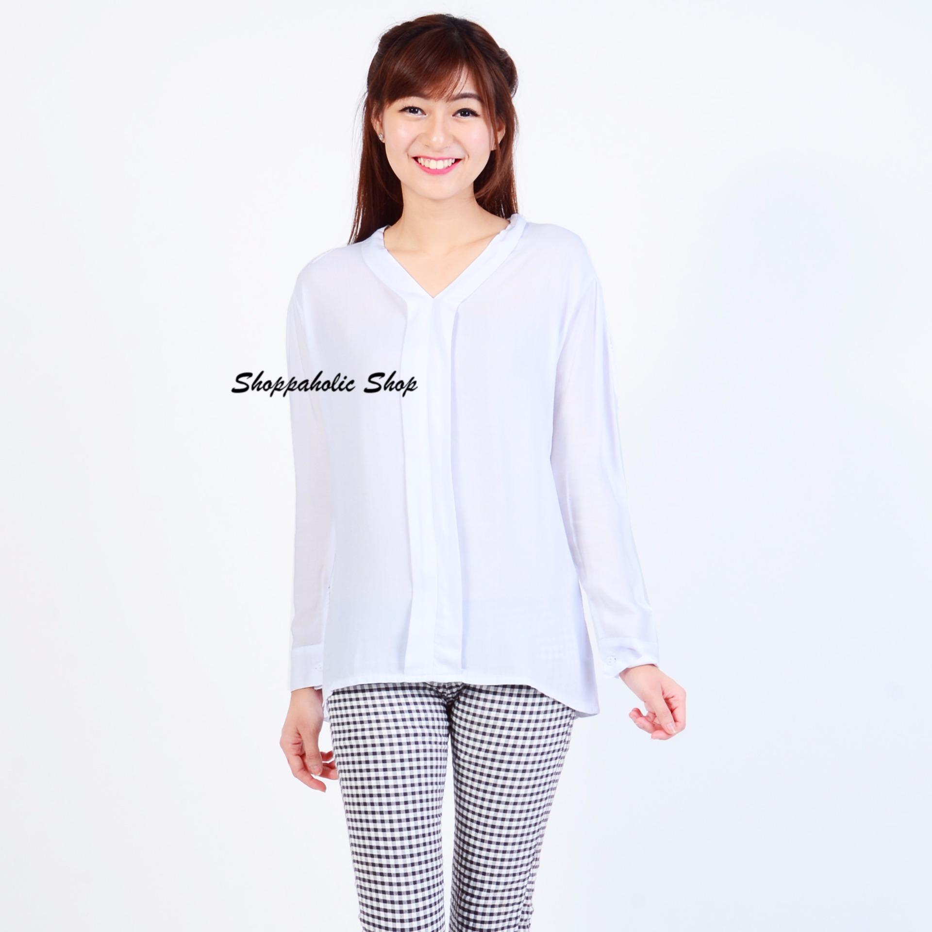Shoppaholic Shop Blouse Wanita Julia Putih Shoppaholic Shop Diskon 30