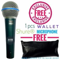 Shure BETA 58A LC (Tanpa Switch ON/OFF) Supercardioid Dynamic Vocal Microphone Mic Kabel + Free 1pcs Wallet Shure Mikrofon