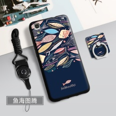 Silica Gel Soft Phone Case for 5.0 inch Huawei Y6 Huawei Honor 4A with a Rope and a Ring (Multicolor) - intl