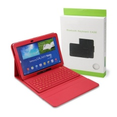 Silicone Bluetooth Keyboard Synthetic Leather Case PENUTUP untuk Samsung GALAXY Catatan 10.1 2014 Edisi Tablet SM-P600 SM-P601. Merah-Intl