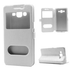 Silk Buka Jendela PU Leather Flip Stand Phone Case untuk Samsung Galaxy J2 Prime-Intl