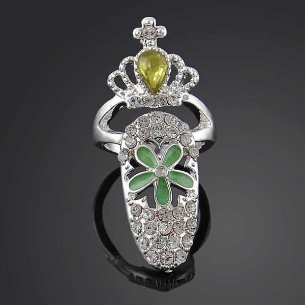 Silver Gold Ikatan Simpul Manis Crown Rhinestone Pearl Nail Ring A 5-Intl
