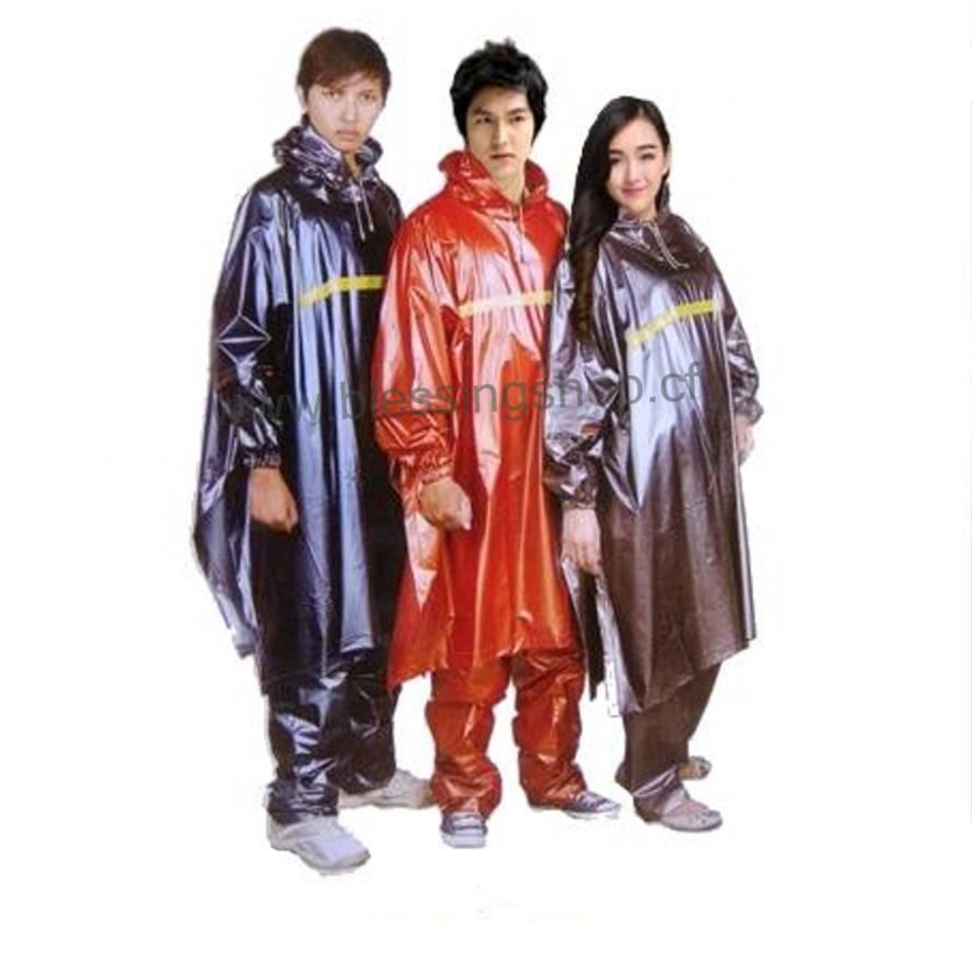 Diskon Silver Tiger Head Jas Jaket Hujan Pvc Ponco Poncho Jubah Tangan Celana Panjang Setelan Stelan Akhir Tahun