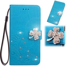 Simple Style Wallet Style Lucky Clover Premium [Soft TPU + PU Leather] Shine Flip