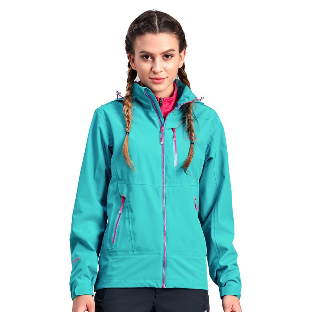 Single Layer Women Outdoor Waterproof Mountain Hiking Angin Jaket Softshell Spring Autumn Windproof Coat-Hijau