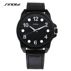 SINOBI Merek Teratas Pria Gaun Leather Wrist Watch untuk Mens LuxurySports Jam Tangan Shop Big Dial Pria QUARTZ Watch Jam Regarder (hitam) -Int'l-Intl
