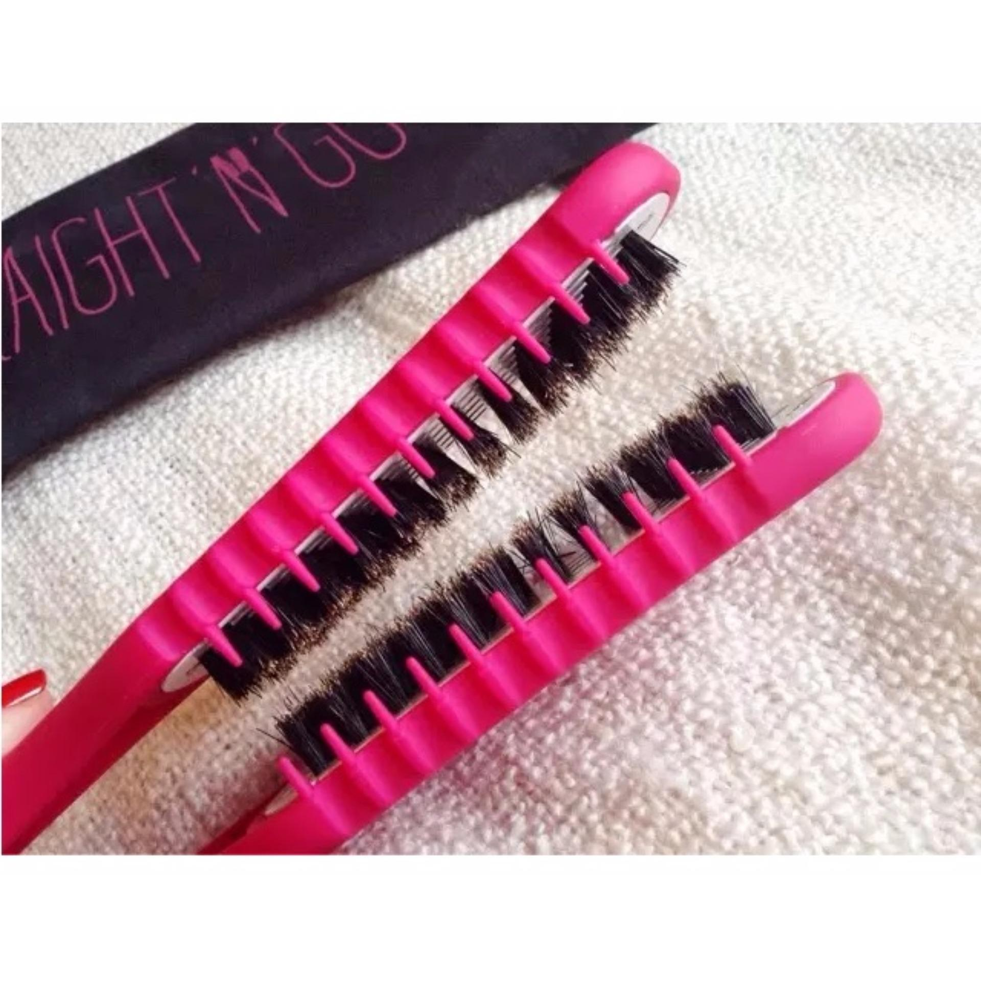 Obral Sisir Straight N Go Sisir Pelurus Ceramic Straightening Brush Pink Murah