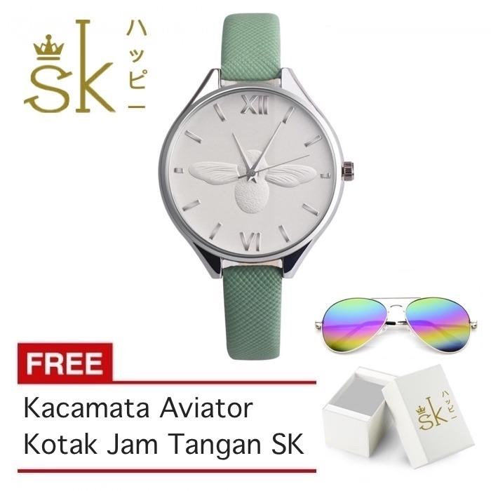SK Honey Bee - Jam Tangan Wanita - 3D Bee - Strap Leather - FREE_BOX & Kacamata