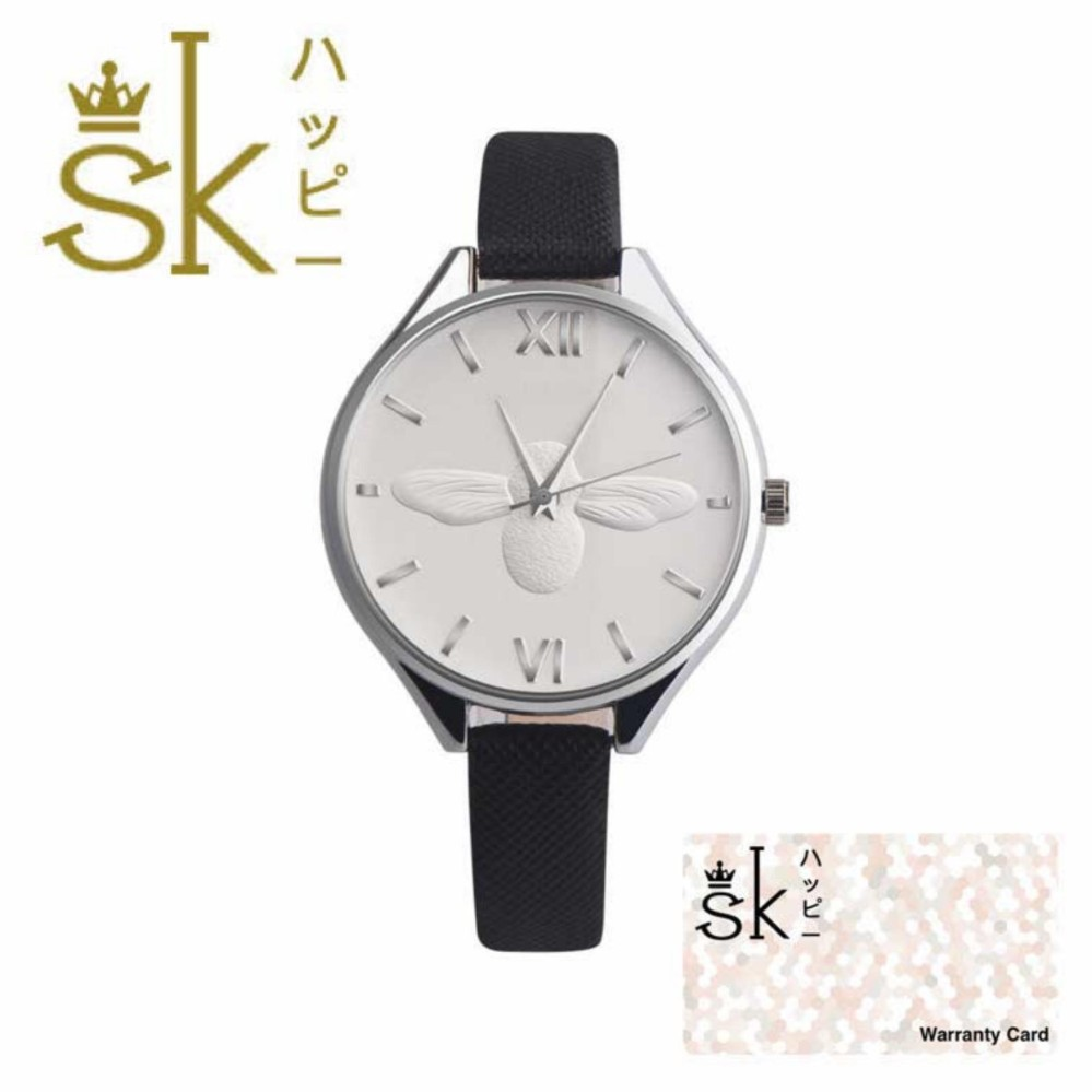 SK Honey Bee - Jam Tangan Wanita - 3D Bee - Strap Leather - Hitam Putih