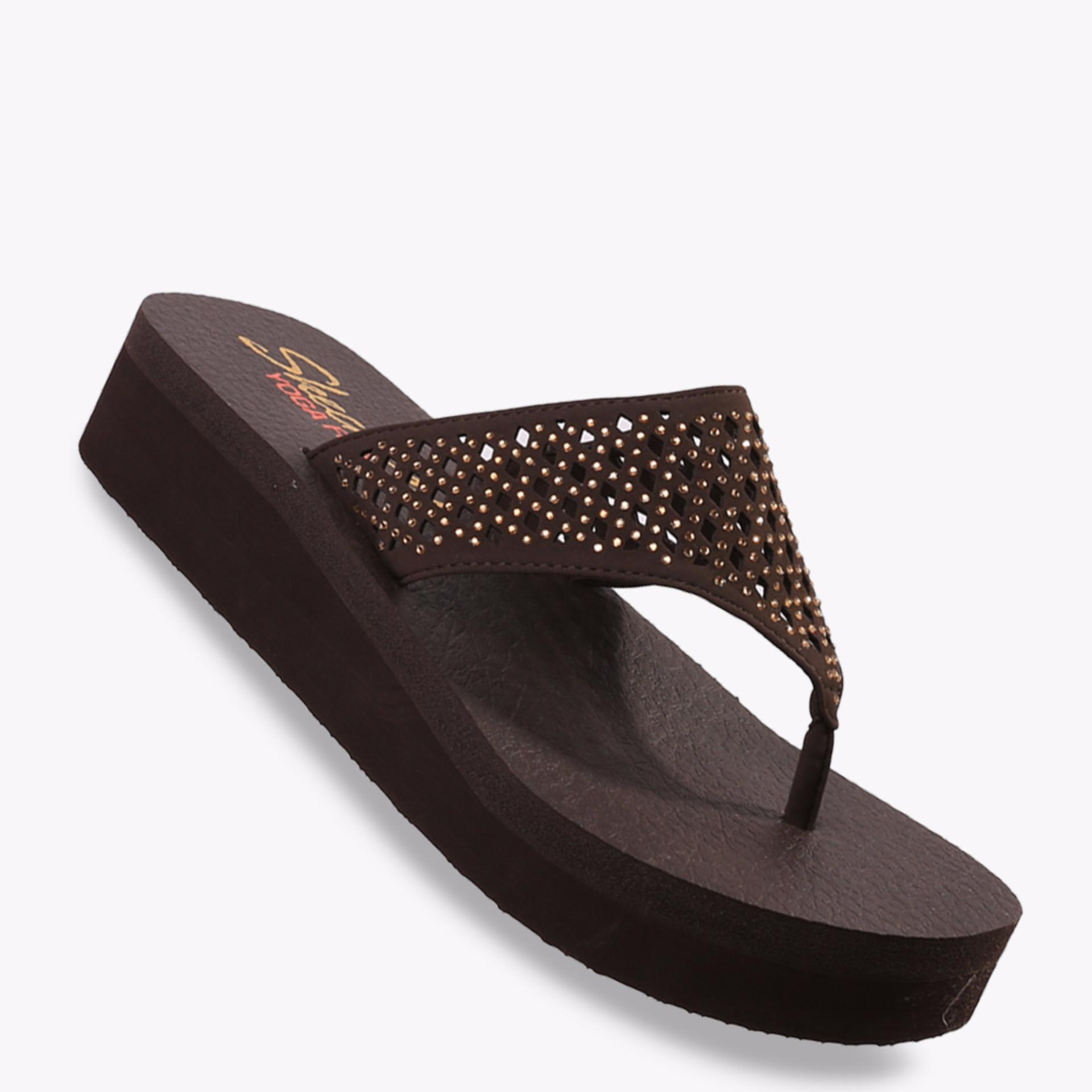 Beli Skechers Vinyasa Flow Women S Sandals Cokelat Yang Bagus