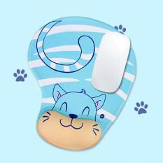Beli Selip Perlawanan Busa Memori Penyangga Pergelangan Kenyamanan Dukungan Mouse Pad Kucing Biru Murah