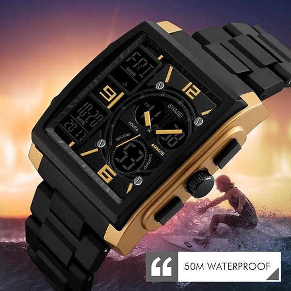 SKMEI  Merek Digital Kuarsa Pria Jam Tangan Kolam Olahraga Multifungsi LED Digital Chronograph 50 M Tahan Air Watches 1274-Intl
