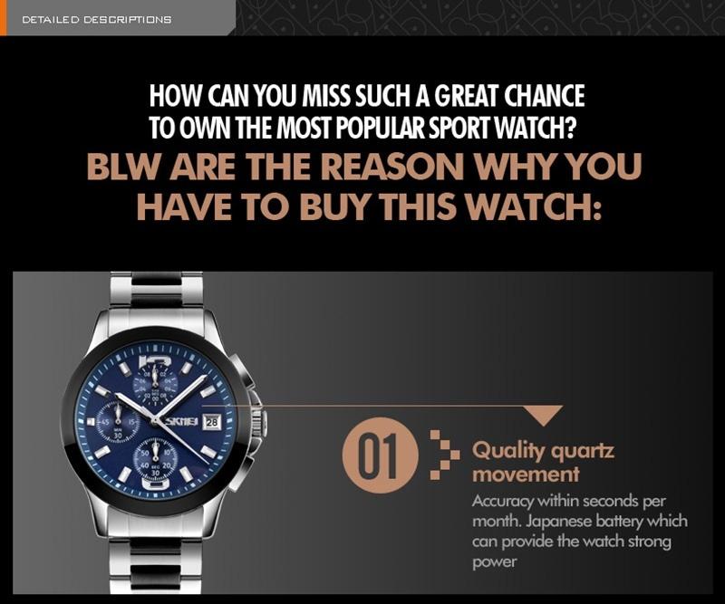 Jual Cepat Skmei Pria Stopwatch Waterproof Luxury Penuh Bisnis Stainless Steel Quartz Jam Tangan 9126