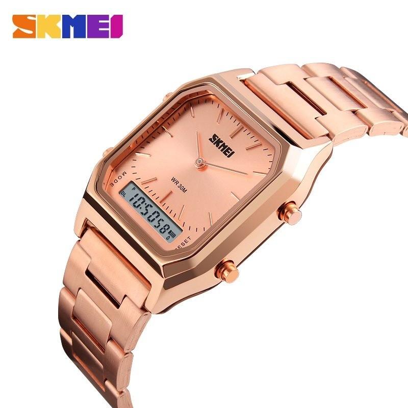 SKMEI Alarm Chronograph Pria Busana Kasual Kuarsa Watch Dual Digital Jam Tangan EL Lampu Layar  Watch 1220 Masculino Blaus- INTL