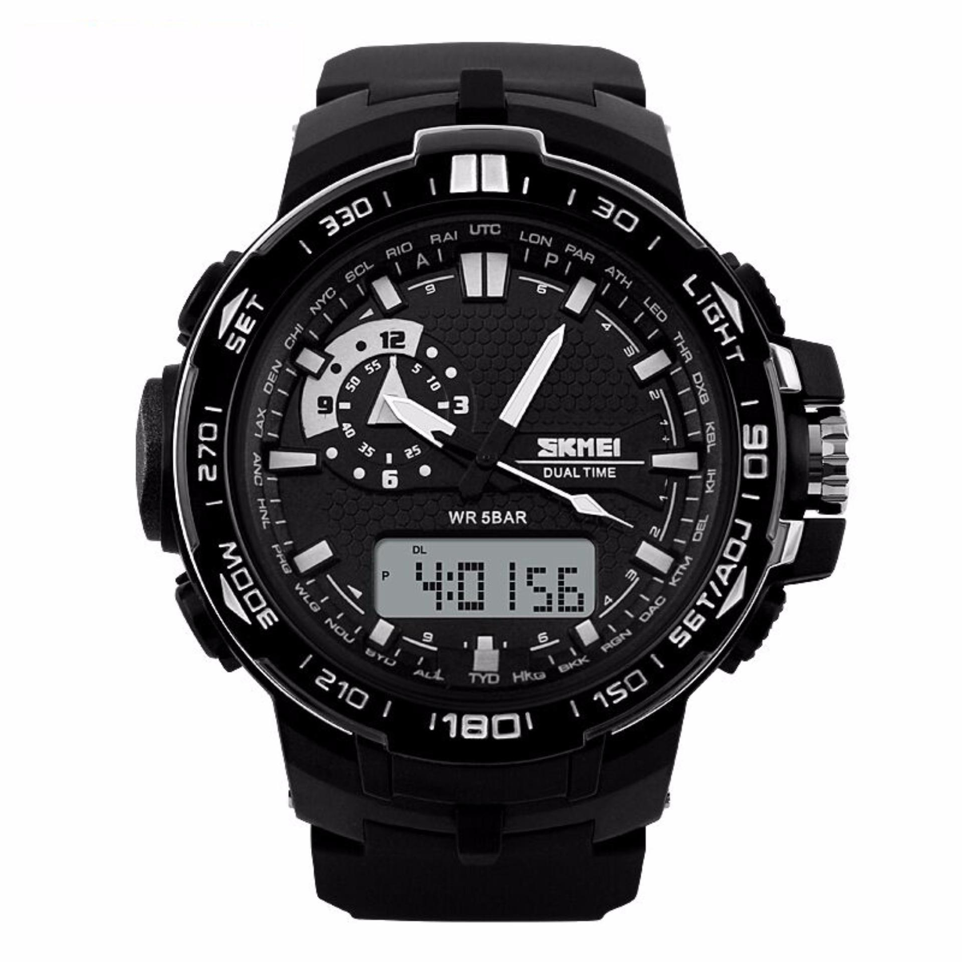 SKMEI Casio Men Sport LED Watch Jam Tangan Sport Water Resistant 50m AD1081 - Hitam Putih