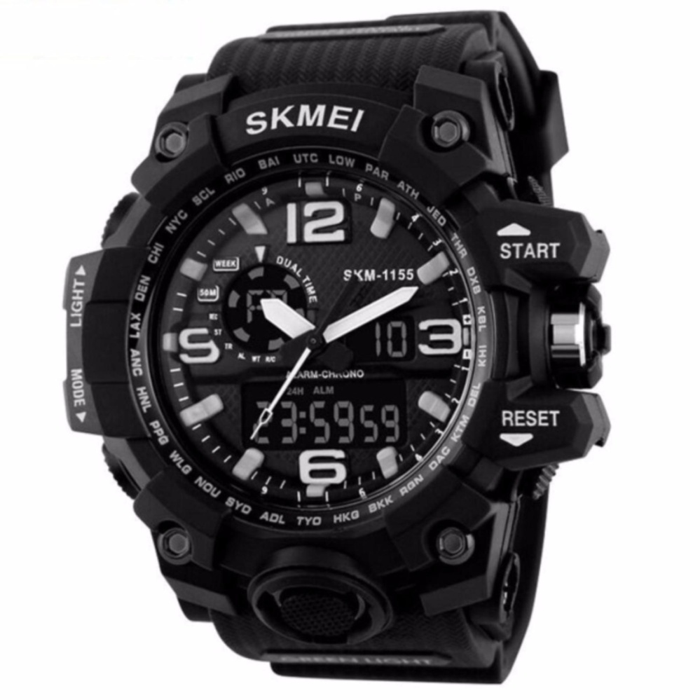 SKMEI Casual Men Rubber Strap Watch Water Resistant Anti Air WR 50m AD1155 Dual Time Jam