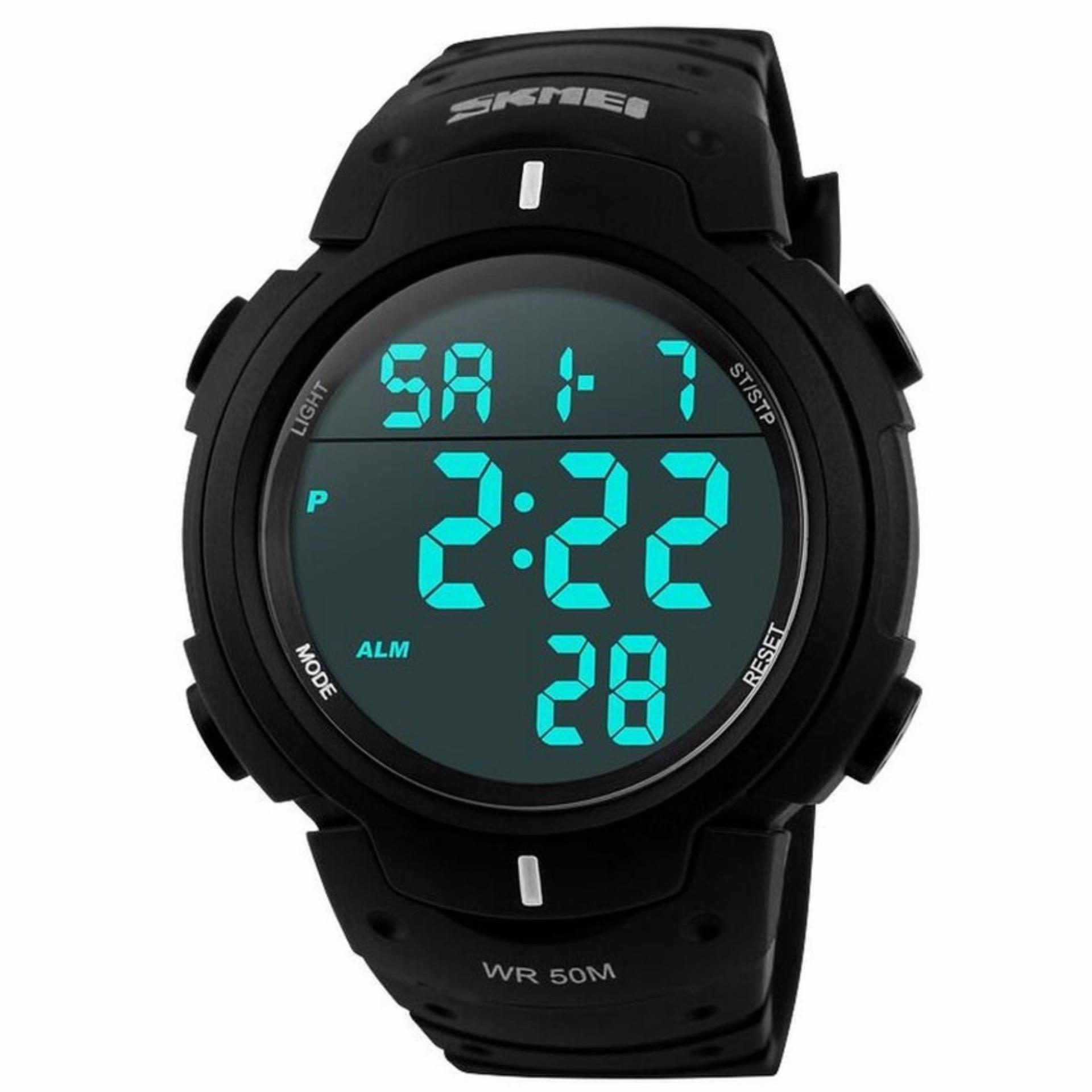 SKMEI Digital Sport Men Watch Water Resistant 50m Anti Air Jam Tangan Pria 1068 Strap Rubber Karet - Hitam