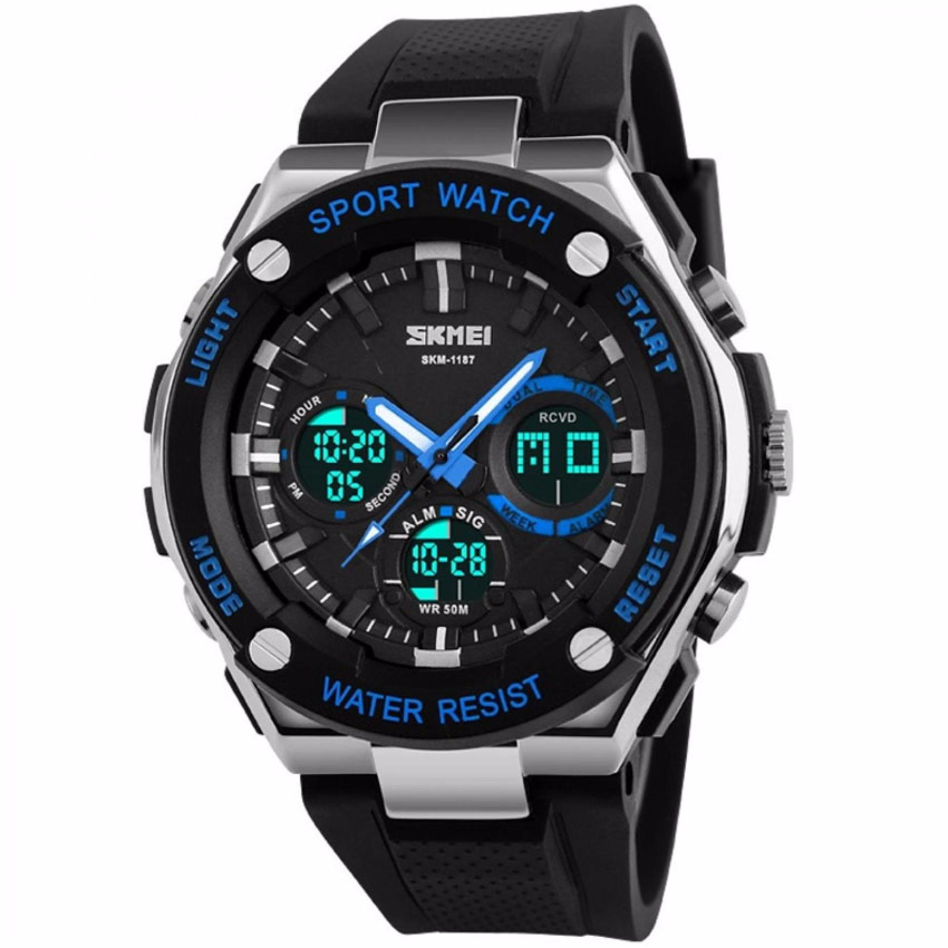 Toko Skmei Dual Time Men Sport Led Watch Water Resistant 50M Ad1187 Jam Tangan Pria Tali Karet Hitam Biru Skmei