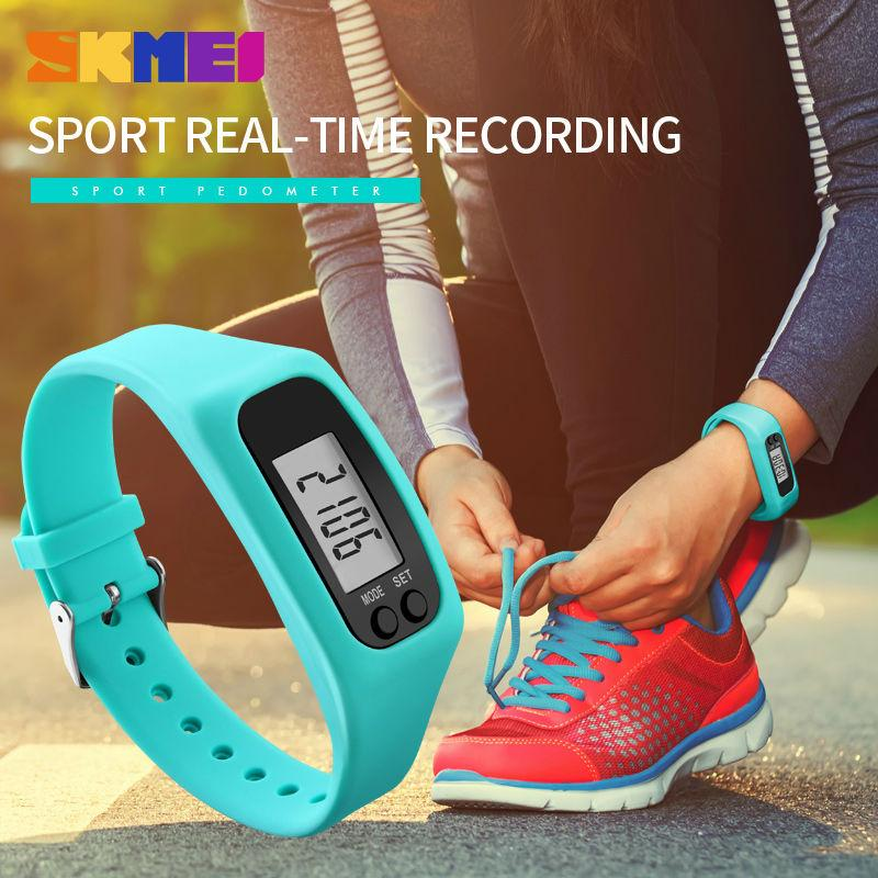 Skmei Fashion Wanita Olahraga Watches Pedometer Kalori Sport Mileage Digital Watch Gadis Colorful Silikon Tali Jam Tangan 1207 Biru Tiongkok Diskon