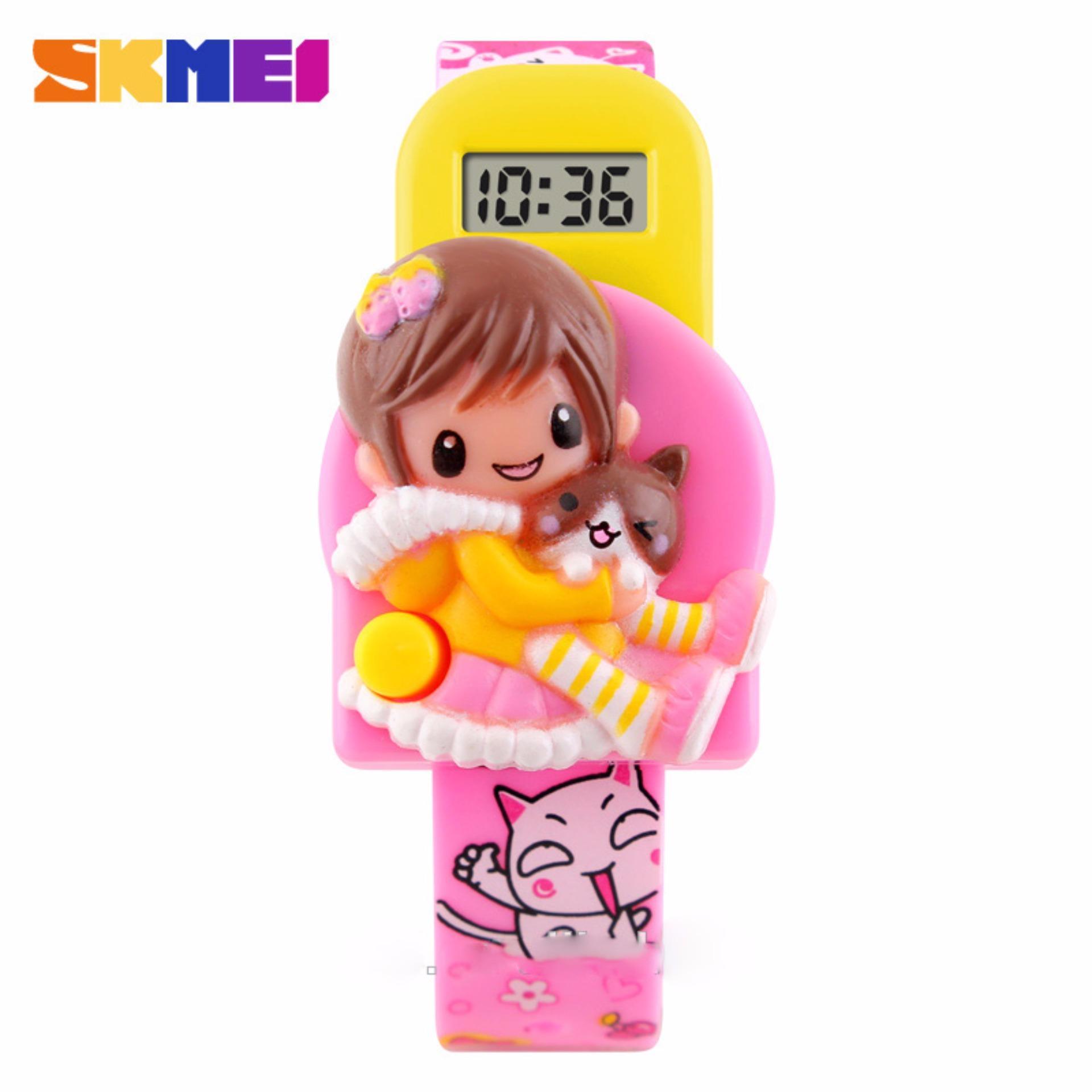 SKMEI Jam Tangan Anak Lucu Motif Boneka Jam Tangan Anak Digital DG1240 - Pink