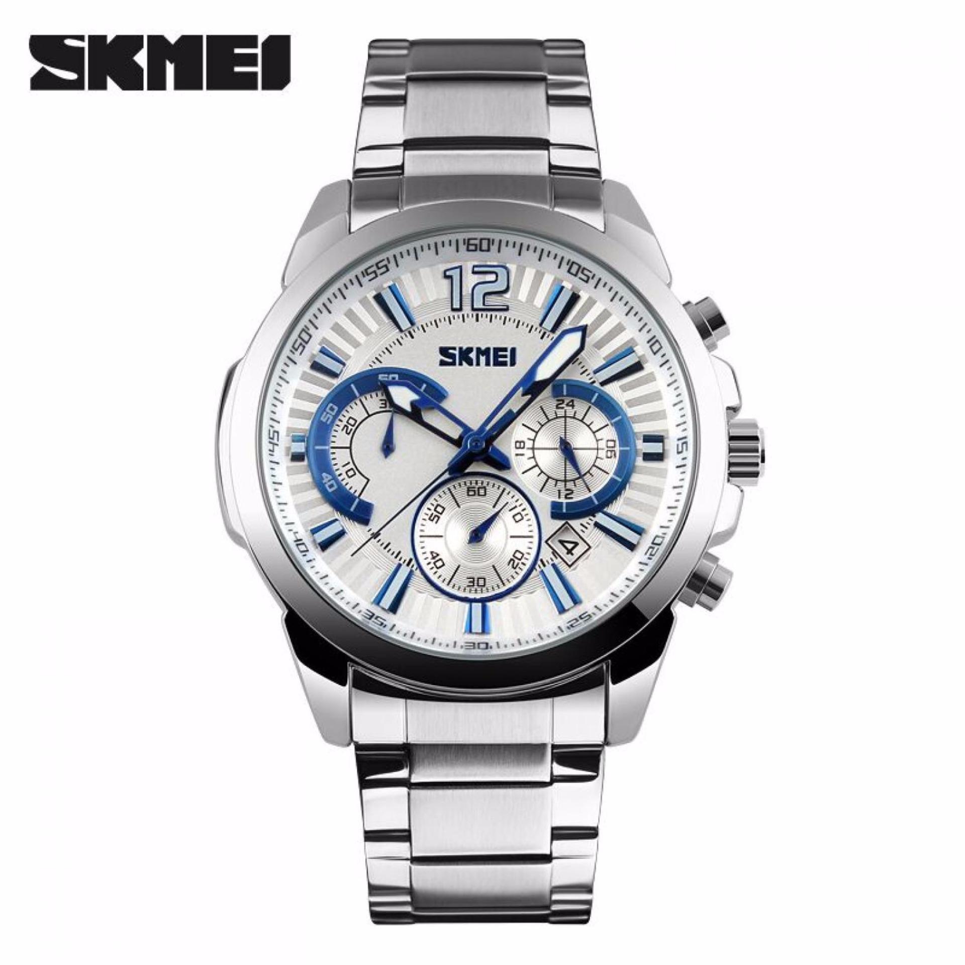 Promo Skmei Jam Tangan Analog Pria 9108Cs Jam Tangan Pria Chronograph Chrono Watches Day Date Silver Putih Sulawesi Selatan