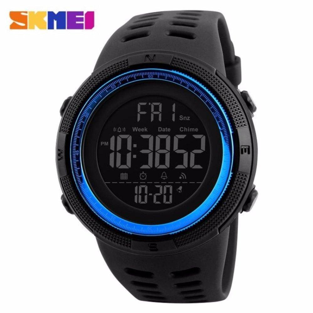 Spesifikasi Skmei Jam Tangan Pria Jam Tangan Analog Stopwatch Countdown Alarm Date El Light Chrono Dg1251 Hitam Biru Bagus