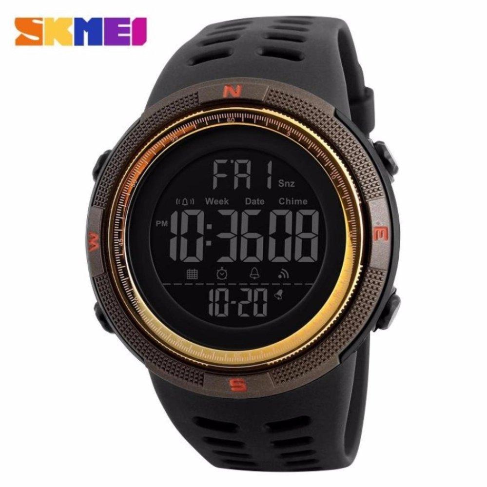 Spesifikasi Skmei Jam Tangan Pria Jam Tangan Analog Stopwatch Countdown Alarm Date El Light Chrono Dg1251 Hitam Gold Yang Bagus Dan Murah