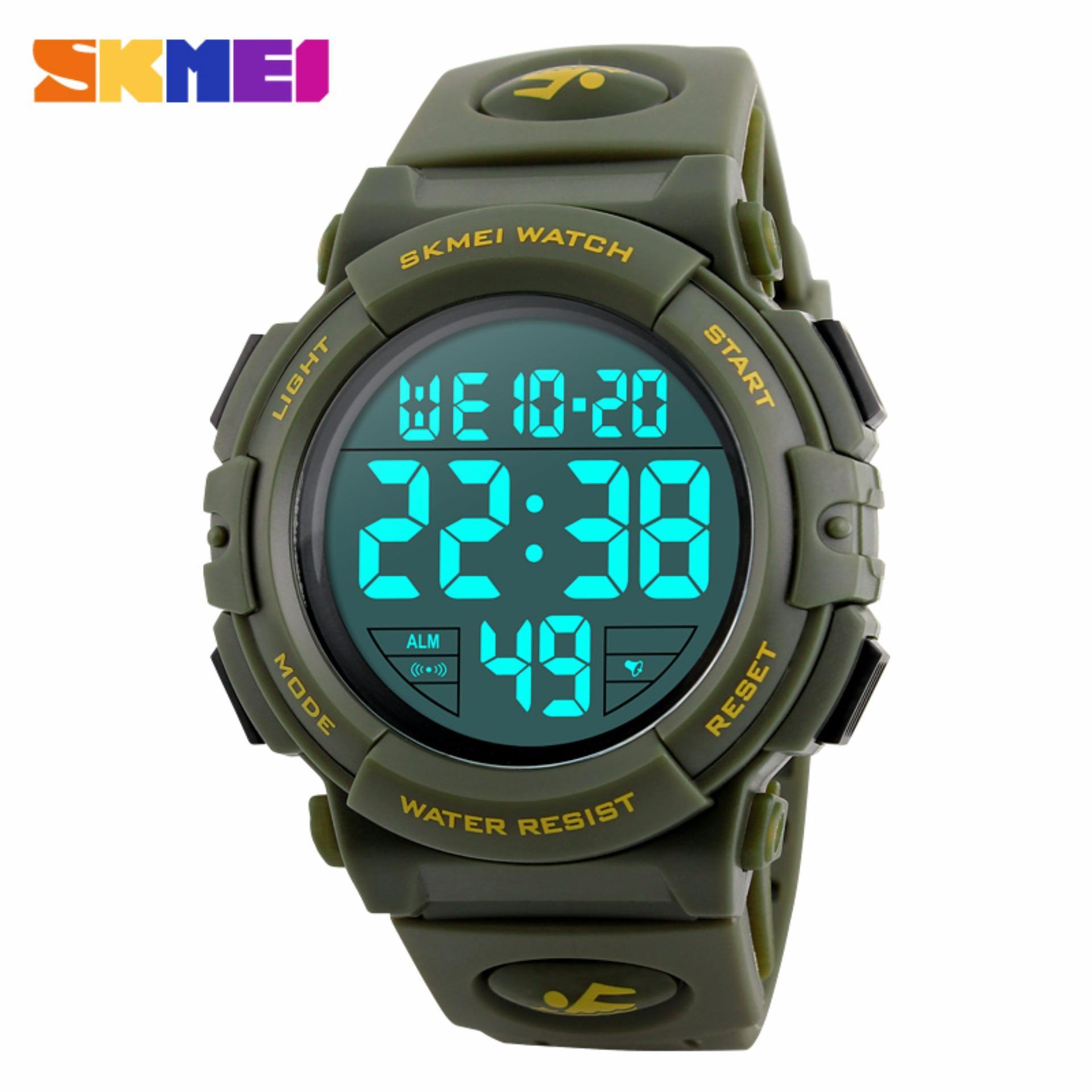 Beli Skmei Jam Tangan Pria Jam Tangan Digital Sporty Day Date Alarm Water Resist Dg1258 Army Green Nyicil