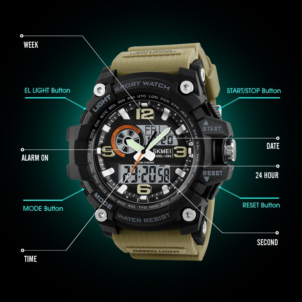 Spesifikasi Skmei Merek Watch Outdoor Sport Mens Watches Mewah Army 50 M Tahan Air Digital Watch Militer Kasual Pria Jam Tangan Relogio Masculino 1283 Intl Online