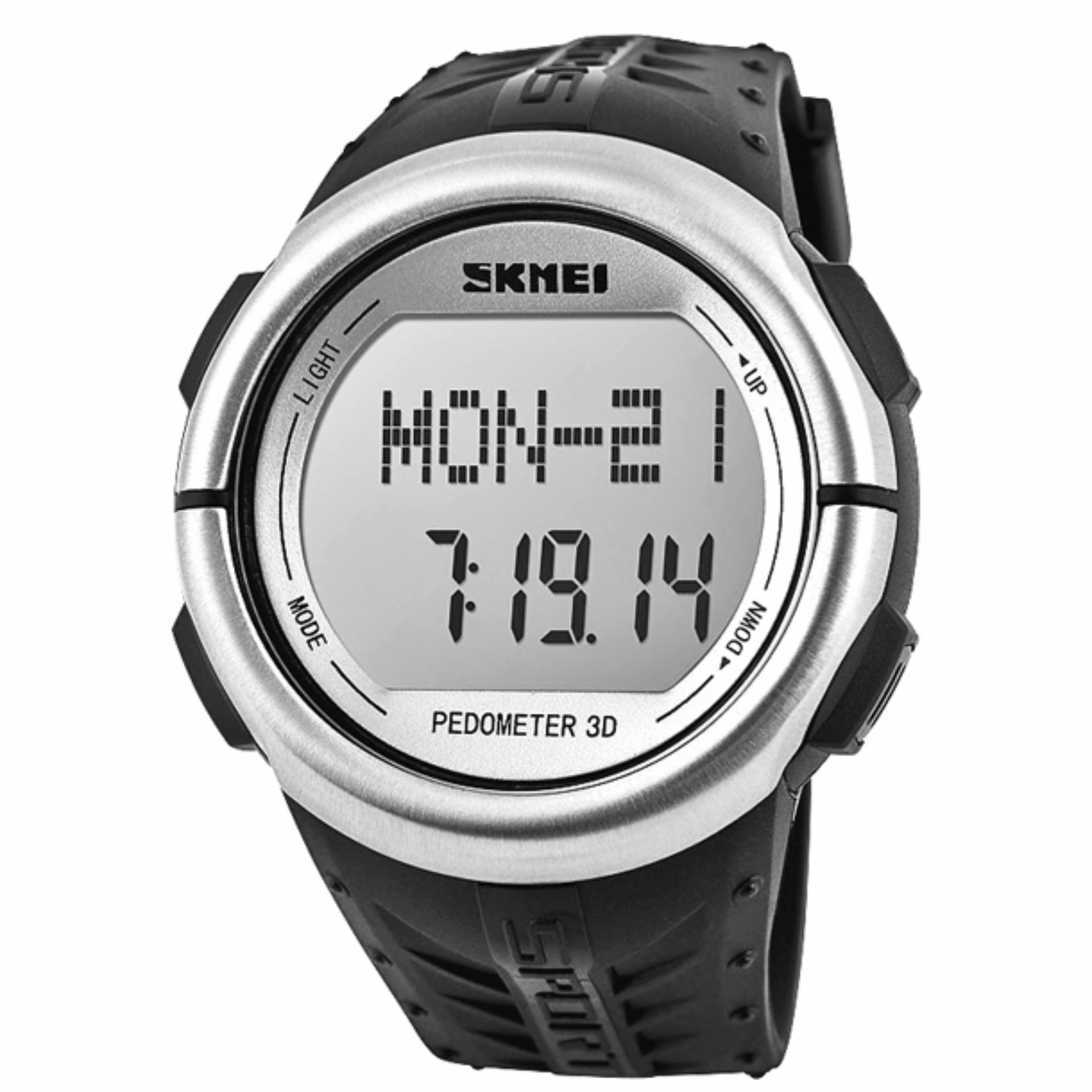 Spesifikasi Skmei Sport Watch Pedometer Heart Rate Tracking Water Resistant Day Date Stopwatch Pedometer Dg1058Hr Abu Terbaik