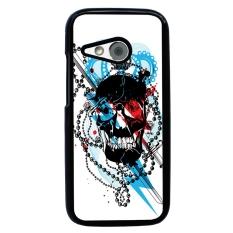 Skull Tattoo Berpola Pola Phone Case untuk HTC One M8 Mini (Hitam)