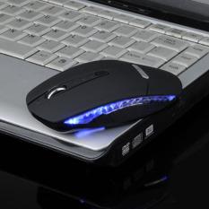 Slim 1600 DPI Wireless 2.4G Mouse Mouse Optik + Receiver untuk PC Laptop Hitam