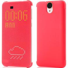 Slim Dot Sleeve Smart Auto Sleep View Shell Soft Silicone Case for HTC One E9 / E9 Plus E9+ (Red)