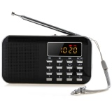 Promo Slim Fm Am Radio Digital Lcd Supper Bass Mini Speaker Aux Usb Tf Led Light Black Akhir Tahun