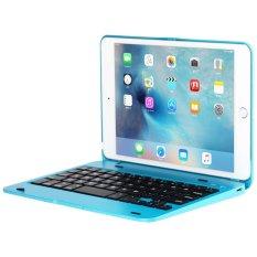 Slim IPad Mini 4 Case dengan Keyboard Aluminium Nirkabel Bluetooth Keyboard Folio Smart Case Stand