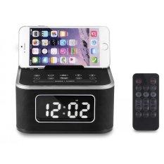 Harga Rumah Pintar Alarm Clock Bluetooth Speaker Musik Stereo Fm Radio Charger Dock Dengan Handfree Menjawab Panggilan Telepon Untuk Ip6 7 8 X Hitam
