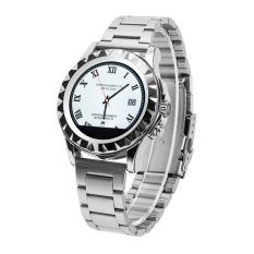 Smartwatch T2 Bluetooth Smart Watch Steel Jam Tangan untuk Iphone Samsung LG Android Smart Ponsel dengan Monitor Detak Jantung Watch-Metalband, Silver Dial Allwin-Internasional