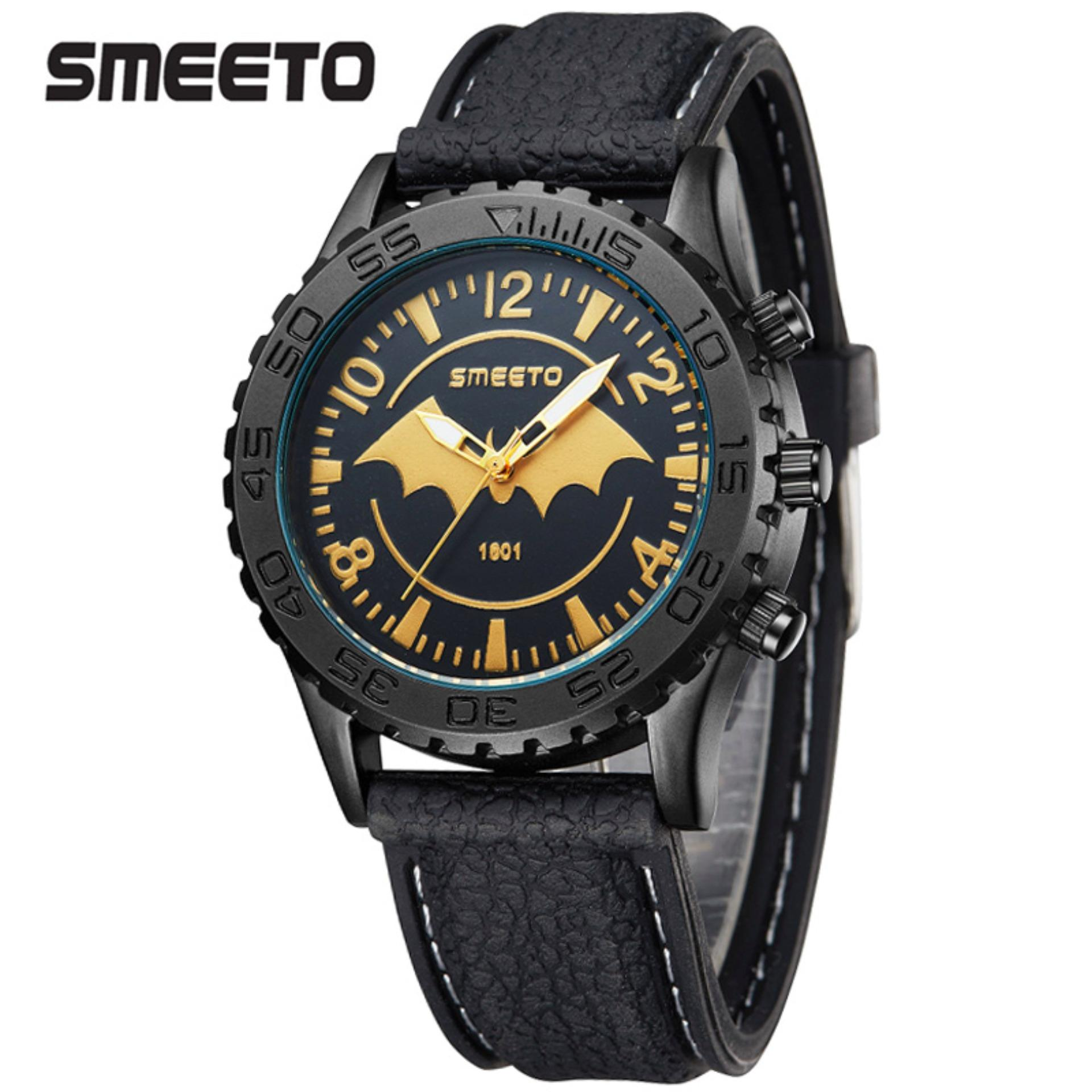 Beli Smeeto Bat Sport Jam Tangan Pria Wanita Fashion Waterproof Analog Quartz Men Lady Watch Black Pake Kartu Kredit