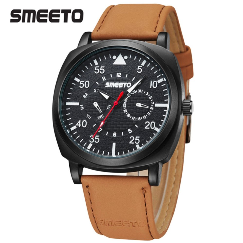 Harga Smeeto Coachman Jam Tangan Pria Wanita Fashion Waterproof Chronograph Analog Quartz Men Lady Watch Black Smeeto