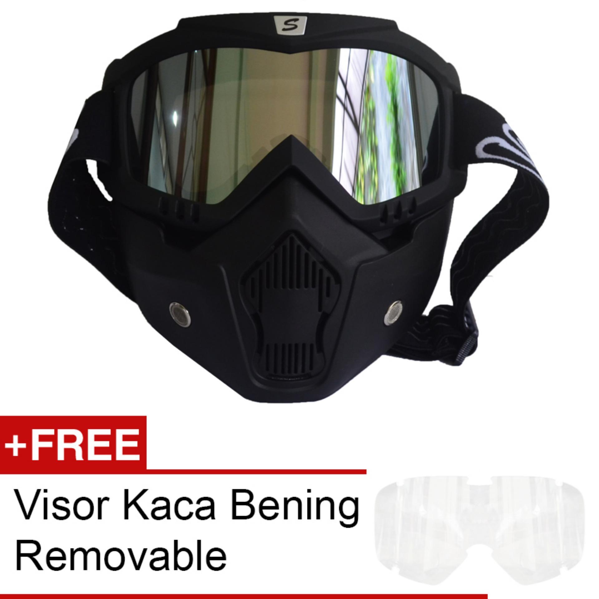 Snail Kaca Mata Goggle Motocross Full Masker Mx18 Pelangi Hitam Helm Face Mx309 Motif Skull Kilap