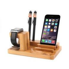 SOBUY Charging Docking Station Watch Stand, Kayu Bambu Charge Dock, Desk Stand Dudukan Pemegang Dudukan untuk Apple Watch, IPhone, IPad dan Smartphone dan Tablet-Intl