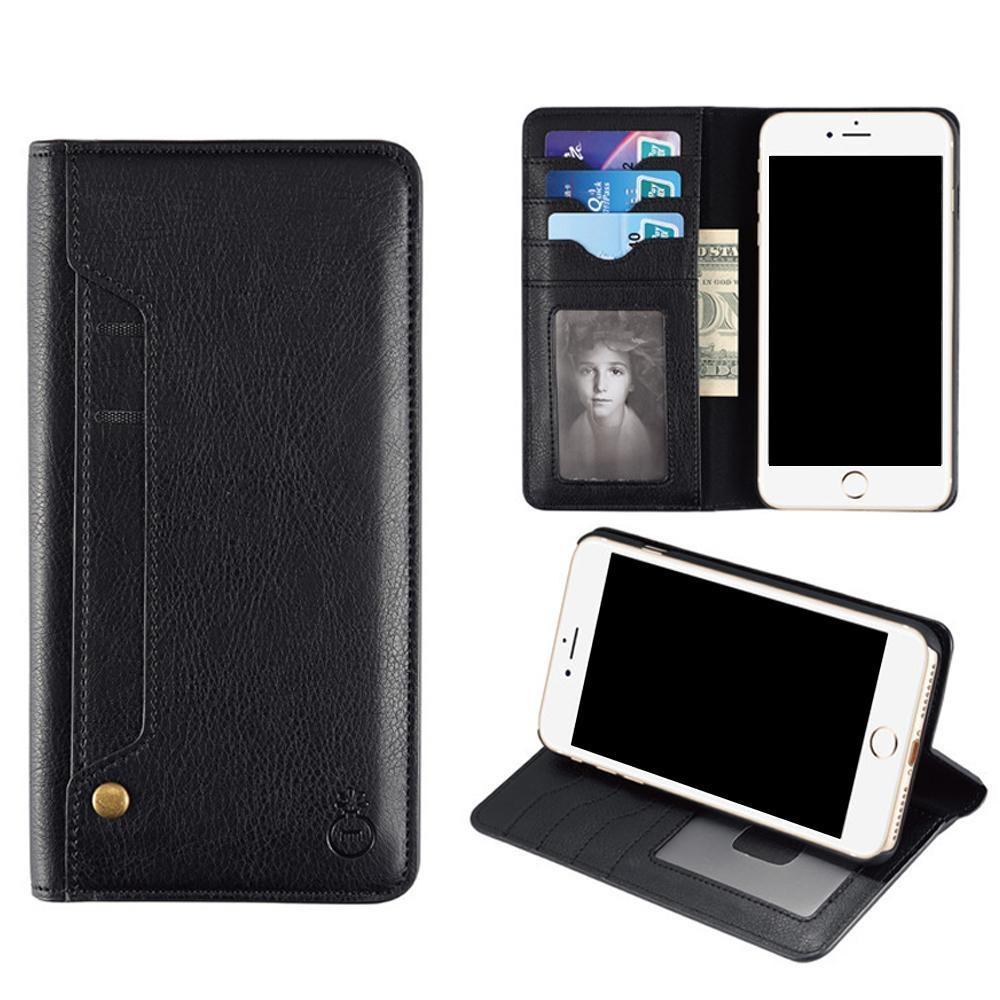SOBUY IPhone Case, 2 In 1 Slot Kartu Holder Ganti Dompet Dompet dan Ultra Slim PU Kulit Flip IPhone Case dengan Kickstand Fungsi dan Magnetic Closure-Intl