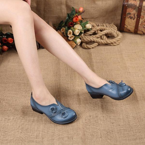 Ulasan Lengkap Socofy Fashion Bunga Retro Mid Heel Asli Folkways Handmade Women Boat Pantofel Sepatu Intl