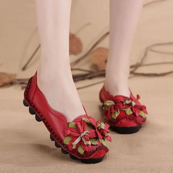 Harga Socofy Fashion Genuine Leather Handmade Bunga Loafers Lembut Flat Boat Sepatu Kasual Wanita Intl New