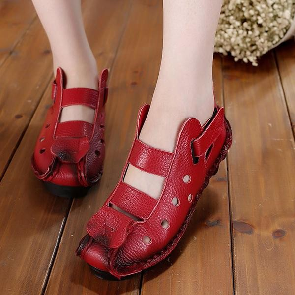 Socofy Fashion Large Size Vintage Hollow Out Leather Soft Breathable Flat Hool Loop Women Shoes Intl Diskon Akhir Tahun