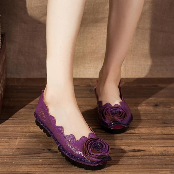Spek Socofy Handmade Rose Pola Jahitan Soft Kasual Fashion Flat Pantofel Perahu Sepatu Intl Not Specified