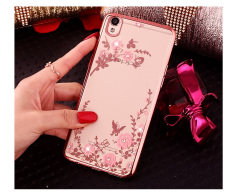 Soft Gel Silicone TPU Crystal Diamond Pink Flower Back Cover Case for Oppo R9 Plus (Rose Gold) - intl