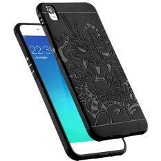 Soft Silikon TPU Shockproof Armor Dragon Case Cover For Oppo F1 Plus / R9 - Black